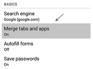 Chrome Android Tabs
