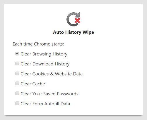 Chrome Extension Auto History Wipe Options
