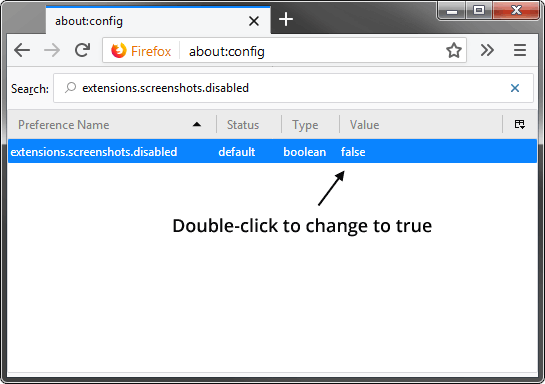 Firefox Screenshot Disable