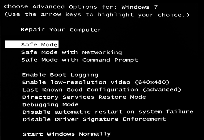 Safe Mode Screen Windows