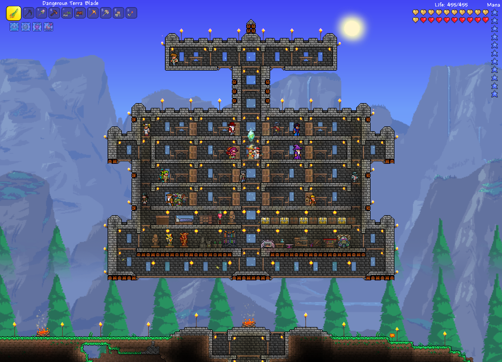 Terraria floating brick fortress with traps h3xed