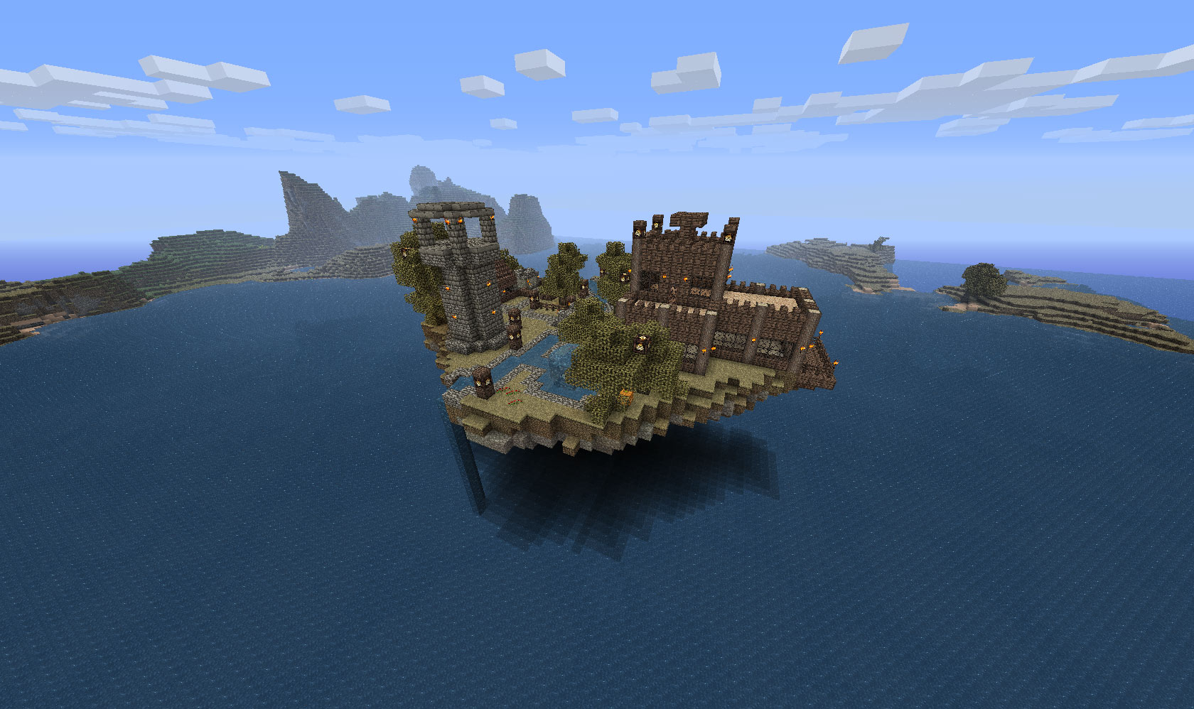 Minecraft Floating Island And Buildings H3xed