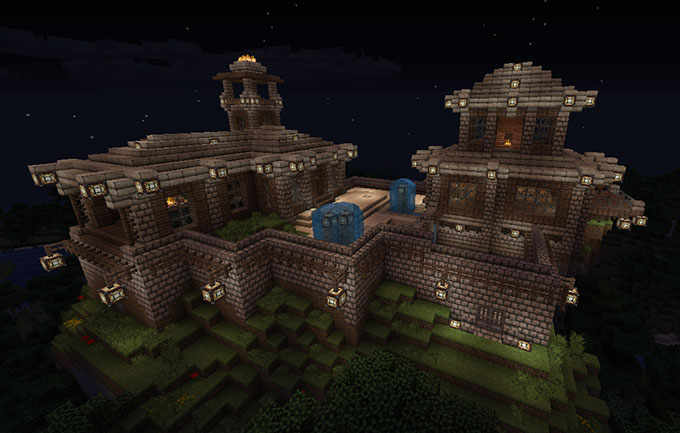 minecraft hilltop fortress build h3xed